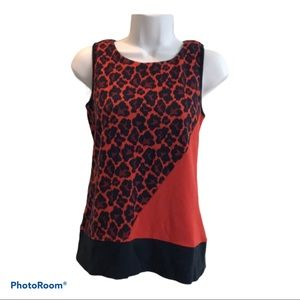 Beautiful red and black animal print tank top.